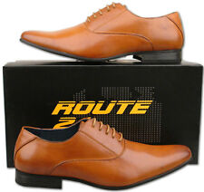 Mens New Tan Lace Up Leather Lined Formal Fashion Shoes Size 6 7 8 9 10 11 12