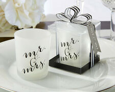 Classic Mr & Mrs Glass Frosted Votive Tea Light Candle Wedding Favor in Gift Box