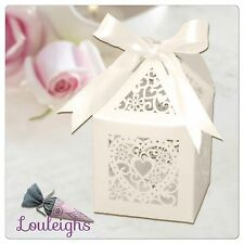 Luxury Heart Laser cut Pearlesent Ivory favour boxes 12,24,48 plus ribbon