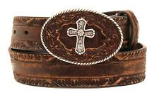 Nocona Western Womens Belt Leather Pierced Cross Buckle Brown N3413002