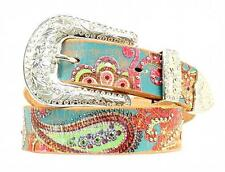Nocona Western Womens Belt Leather Paisley Painted Rhinestone Multi N3418097