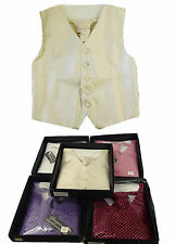 Boys Waistcoat Cravat Hankerchief Set Pageboy Wedding Christening