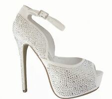 White Rhinestone Peep Toe Hidden Platform Bridal Wedding Heels Pumps Shoes