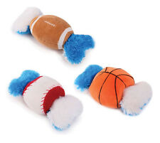 Grriggles Champion Double Tugger Dog Toy Squeaker Plush Sports Balls 2-Toys-In-1