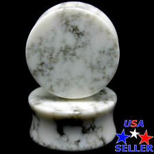 PAIR-WHITE HOWLITE -Organic Flesh Tunnels- Stone Ear Plugs-Ear Gauges-