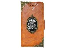 Vintage Pirate Skull Leather Case Cover For iPhone 6 / iPhone 6 Plus A1 NA Brown