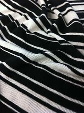 Black & Ivory Stripe Pattern Stretch Rayon Spandex Knit Fabric - 60 inches Wide