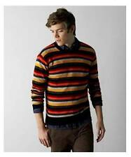 NWT Mens AMERICAN EAGLE Striped Sweater Size M L XL XXL Crew Neck AEO Charcoal