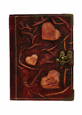 Purple Hearts Embossed Leather Journal / Diary / Lock / Purple / Notebook/ Small