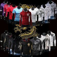 Chic Men's Casual Dragon Printed Tops Fitted Hoodies Sweater T-Shirt Sweatshirts