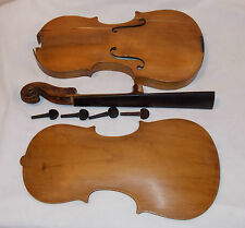 Old Violin Body Back Neck Fingerboard Pegs for Parts Repair Restoration Antique