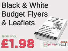 BLACK & WHITE BUDGET LEAFLET / FLYER PRINTING / ADVERTISING 80GSM WHITE A5