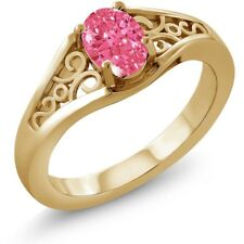 0.76 Ct Fancy Pink 18K Yellow Gold Ring Made With Swarovski Zirconia