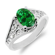 1.24 Ct Oval Green Simulated Emerald 925 Sterling Silver Ring