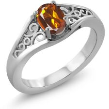0.70 Ct Oval Orange Red Madeira Citrine 925 Sterling Silver Ring