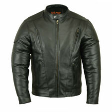 Men's Vented Leather Motorcycle Jacket M/C Style - All Sizes- Black- NEW