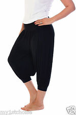 Ladies 3/4 Harem Baggy Shorts Women Plain Cropped Ali Baba Trouser Pant