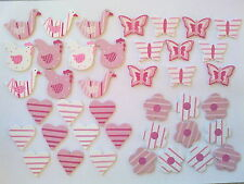 Wooden Painted Pink Embellishments Ducks Geese Butterfly Hearts Flowers Adornos