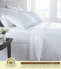White 100% Egyptian Cotton Extra deep pocket-Fitted/Flat/Sheet sets/Cases-500TC