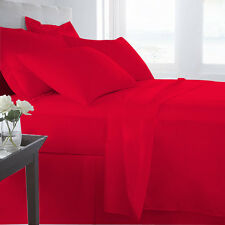 Blood Red 100% Egyptian Cotton Extra deep pocket-Fitted/Sheet set/Case-500TC