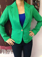Womens Green Blazer Jacket Suit Work Casual Basic Long Sleeve Button fit