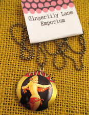 Necklace Pendant  locket -1950's  flirty pin up girl, Fun Rockabilly, Burlesque