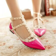 Ladies T-Strap Rivet Studded Pointy Toe PU Leather Flat Heel Mary Janes Shoes Sz