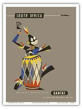 South Africa Native African Drummer Qantas Vintage Art Poster Print