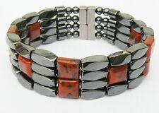 "Mens Powerful Magnetic Hematite POPPY JASPER Bracelet STRONG 4row THERAPY 7/8""WD"