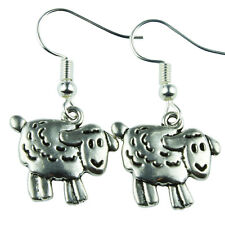 FUNKY SHEEP HOOK EARRINGS LAMB FARM ANIMAL CUTE SWEET QUIRKY NOVELTY KITSCH COOL