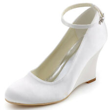 A610 Satin Wedges Closed Toe High Heels Pumps Ankle Strap Wedding Bridal Shoes