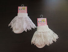 BABY GIRLS ANKLE SOCKS FRILLY WHITE IVORY LACE FRILL WEDDING CHRISTENING PARTY