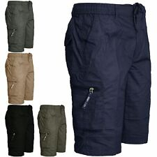 NEW MENS CASUAL SUMMER PLAIN SHORTS ELASTICATED WAIST CARGO COMBAT COTTON M-3XL