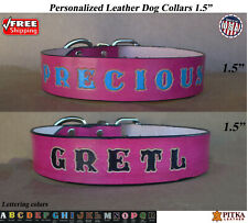 Pink Leather Dog Collars - Colored Leather Dog Collars - XL Custom Name Collar