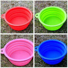Useful Dog Cat Pet Portable Silicone Collapsible Travel Feeding Bowl Water Dish