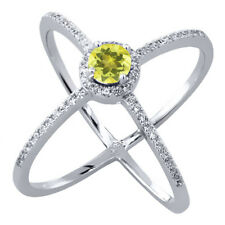 1.82 Ct Round Canary Mystic Topaz 925 Sterling Silver Criss-Cross Ring