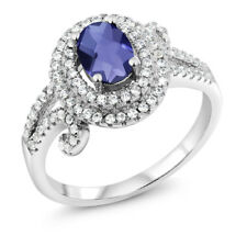 1.90 Ct Oval Checkerboard Blue Iolite 925 Sterling Silver Ring