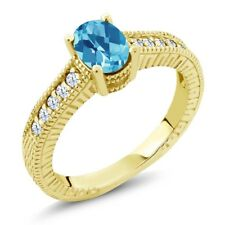 1.35 Ct Checkerboard Swiss Blue White Topaz 18K Yellow Gold Plated Silver Ring