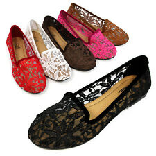 Women Floral Mesh Ballets Flats Slip-On Lace Shallow Ladies Comfort Loafer Shoes