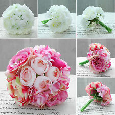 Peony Roses Hydrangeas Real Touch Silk Flowers Bridal Bouquet Wedding Décor