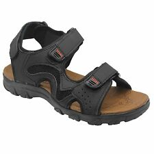 MENS VELCRO WALKING SPORTS HIKING SUMMER BEACH MULES SANDALS BLACK SHOES SIZE