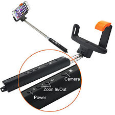 EXTENDABLE MONOPOD WIRELESS BLUETOOTH SELFIE STICK  BUILTIN REMOTE WITH ZOOM