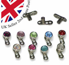 Titanium Micro Dermal Anchor Implant Head with Gems Body Surgical Piercing