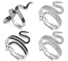 Sterling Silver 925 CZ SNAKE DESIGN WITH CUBIC ZIRCONIA STONE RINGS SIZES 5-11