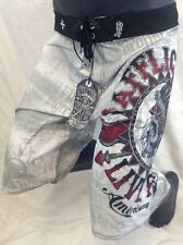 Mens Affliction BOARD SHORTS Indian Skull White 30 31 32 33 34 36 38 40 42 NWT