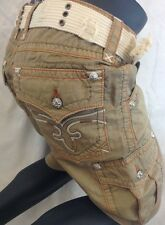 ROCK REVIVAL Mens CARGO SHORTS Khaki Orange Stitch 32 34 36 38 40 42 44 RCM096-2