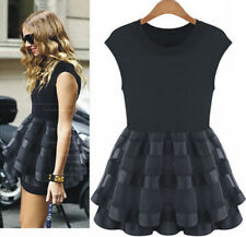 New European Fashion Womens Summer Sleeveless Organza Stitching Knit Mini Dress