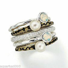 Stackable 5-Piece Ring Set with GENUINE FRESHWATER PEARLS