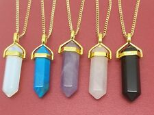 Crystal Point Necklace gold plated Chakra Prism Healing Pendant