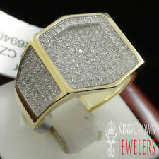 Mens New 925 Sterling Silver Yellow Gold Finish Lab Diamond Pinky Ring Band 7-9